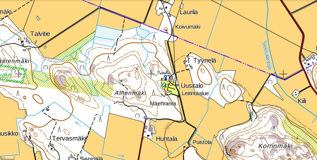 Virkistysalueen aluekartta